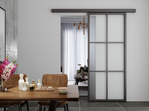 Crittal Style 2x3 Sliding Glass Door with pelmet with softclose. Satin Glass - AFG05