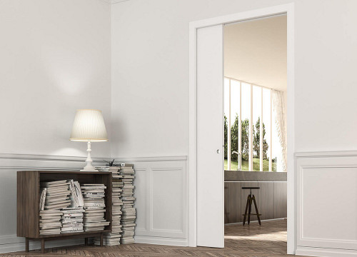 ECLISSE single pocket door system with architrave to suit both traditional and contemporary interiors.