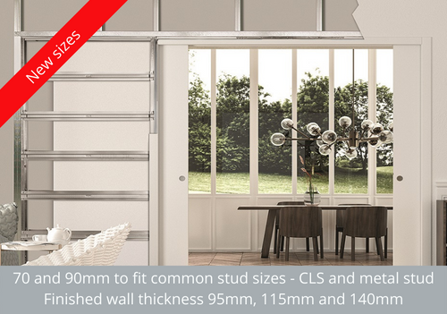 An Eclisse double pocket door system - new stud sizes