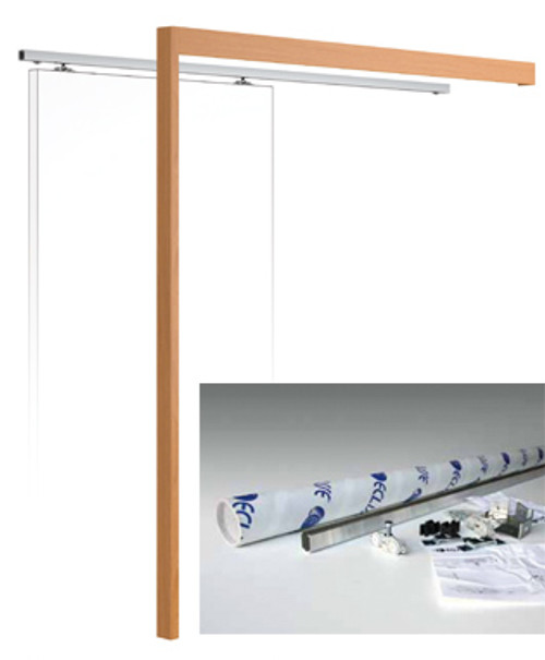 Wall mounted sliding door kit complete with MDF pelmet and real wood veneer doorpost.
