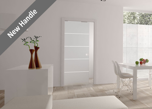 8MM RIGHE STRIPE GLASS POCKET DOOR SYSTEM - SINGLE