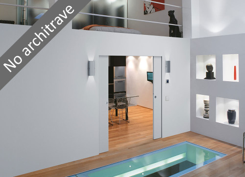 Get creative with space and light. Flush double pocket doors with the addition of a wiring channel.