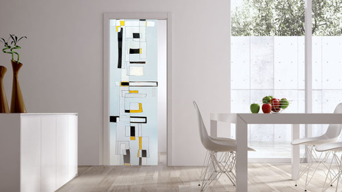 Classic Glass Pocket Door System Handpainted CITY