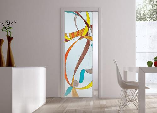 Classic Glass Pocket Door System Handpainted VOLATILE