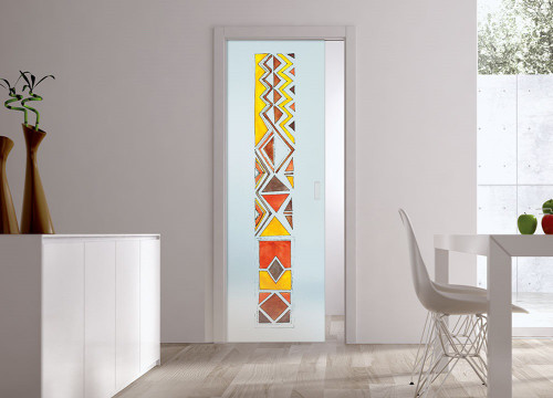 Classic Glass Pocket Door System Handpainted AFRO