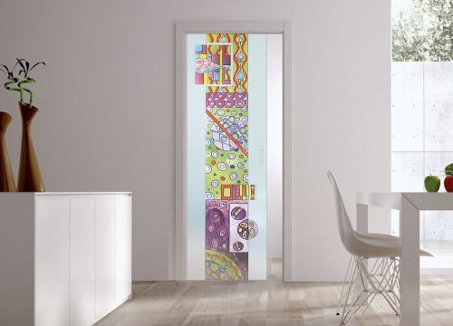 Classic Glass Pocket Door System Handpainted GARDEN