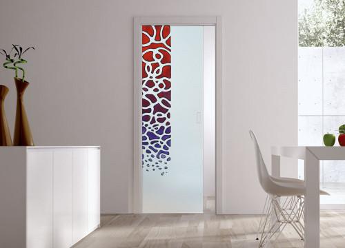Classic Glass Pocket Door System Handpainted SARETA