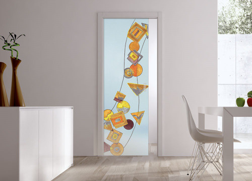Classic Glass Pocket Door System Handpainted GEOMETRIE