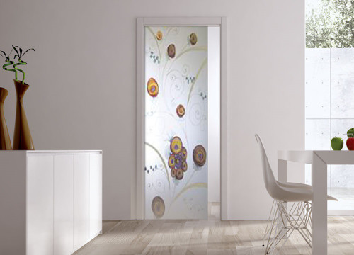 Classic Glass Pocket Door System Handpainted EDEN
