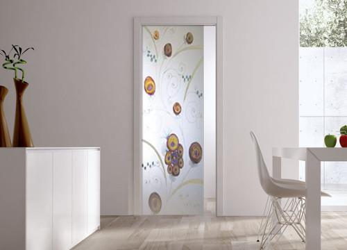 Classic Glass Pocket Door System Handpainted EDEN