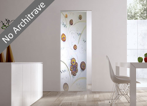 Syntesis® Flush Glass Pocket Door System Handpainted EDEN
