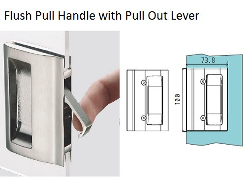 Glass Door Handle -Flush Pull Handle with Pull Out Lever (V-406)