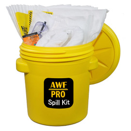 AWarehouseFull 20 Gallon Spill Kit complete with absorbents, goggles, gloves, guidebook and disposal bags.