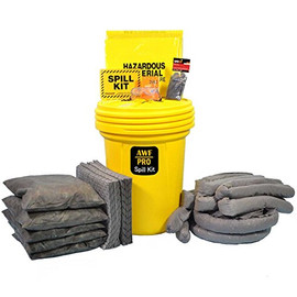 AWarehouseFull 30 Gallon Spill Kit complete with absorbent, goggles, gloves, guidebook and disposal bags.