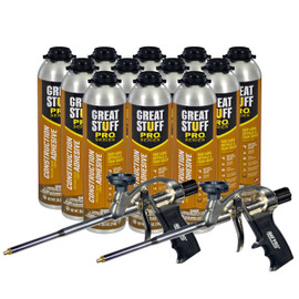 2 Pro Foam Guns, 12-26.5 oz Cans Wall & Floor Adhesive