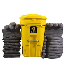 "AWF PRO 95 Gallon Universal Spill Kit, 200 Pieces: 150 Heavy Duty Pads, 8 - 3""x12' Socks, 8 - 3""x4' Socks, 9 - 18""x18"" Pillows, 25 Accessories"