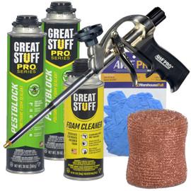 Contents: Pro Foam Gun, 2-20 oz Cans Pestblock, Cleaner, Copper Mesh, Gloves
