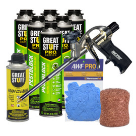 Contents: Pro Foam Gun, 6-20 oz Cans Pestblock, 1 Can Cleaner, Copper Mesh and Gloves