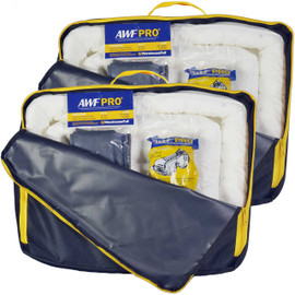 AWF PRO Portable Oil Only Spill Kit 2 Pack, Each Kit Contains 35 Pieces: 25 Sorbent Pads, 3 Sorbent Socks, 5 Disposal Bags,1 Pair of Goggles & Chemical Gloves. Packed in a Heavy Duty, Reusable Nylon Bag