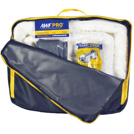 AWF PRO Portable Oil Only Spill Kit, 35 Pieces: 25 Sorbent Pads, 3 Sorbent Socks, 5 Disposal Bags,1 Pair of Goggles & Chemical Gloves. Packed in a Heavy Duty, Reusable Nylon Bag