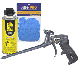 AWF Pro Non-Stick Coated Professional Foam Gun, One Hand Adjustment, with Gun Cleaner and Nitrile Gloves