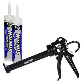 DAP EXTREME STRETCH™ Caulk Kit, 2 tubes 10.1 oz, AWF Pro Caulk Gun