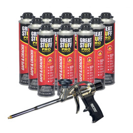 AWF PRO Gaps and Cracks Kit - Great Stuff Pro Gaps and Cracks Fireblock Foam Sealant 24 oz (12) - AWF Pro Foam Gun (1) - Closed Cell Expanding Foam