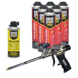 Contents: Pro Foam Gun, 6-24 oz Cans Gaps & Cracks, 1 Can Cleaner