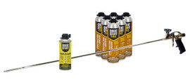 Contents: 40 in Dow Pro Applicator Gun, 6-26.5 oz Cans Wall & Floor Adhesive, 1 Can Cleaner