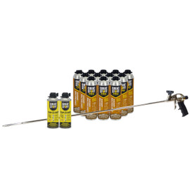 Contents: 40 in Dow Pro Applicator Gun, 12-26.5 oz Cans Wall & Floor Adhesive, 2 Cans Cleaner