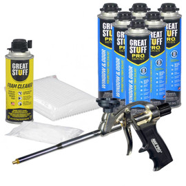 Contents: Pro Foam Gun, 6-20 oz Cans Window & Door, 1 Can Cleaner, 100 Tips, 100 Straws