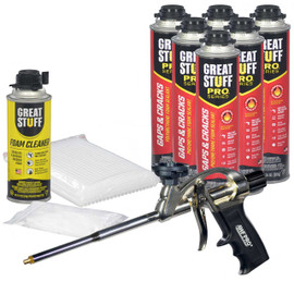 Contents: Pro Foam Gun, 6-24 oz Cans Gaps & Cracks, 1 Can Cleaner, 100 Tips, 100 Straws