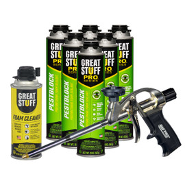 Contents: Pro Foam Gun, 6-20 oz Cans Pestblock, 1 Can Cleaner