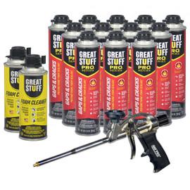 Contents: Pro Foam Gun, 12-24 oz Cans Gaps & Cracks, 2 Cans Cleaner