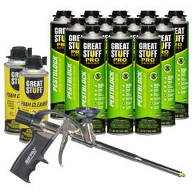 Contents: Pro Foam Gun, 12-20 oz Cans Pestblock, 2 Cans Cleaner
