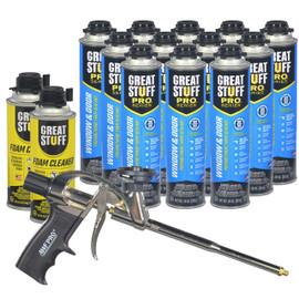 Contents: Pro Foam Gun, 12-20 oz Cans Window & Door, 2 Cans Cleaner