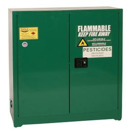 30 Gallon Pesticide Safety Cabinet, Manual Close Doors, Green, Eagle PEST32