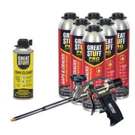 Great Stuff Pro™ Kit, 6-30oz Gaps & Cracks Fireblock, Foam Gun, Cleaner