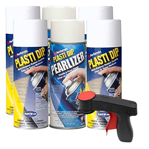 Plasti Dip Rim Kit: 4 Aerosol Cans White, 2 Aerosol Cans Pearlizer, 1 Cangun