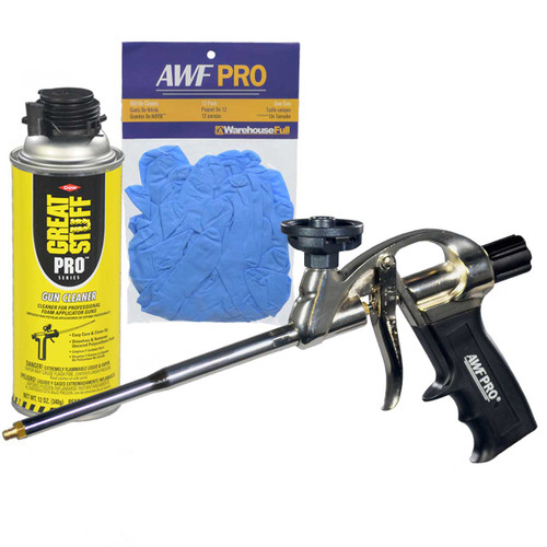 AWF Pro Professional Spray Foam Gun with Non-Stick Coated Adapter Basket, with Gun Cleaner and Nitrile Gloves