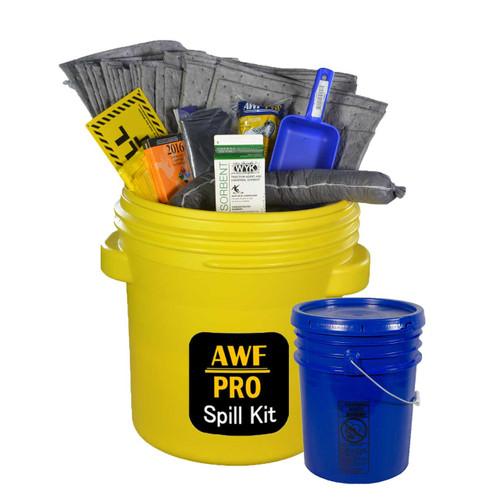"20 Gallon Eco Friendly Sorbent Universal Spill Kit, Pro Grade, 47 Piece: Overpack Drum, Sorbent Cartons, Heavy Duty Pads, 3""x4' Socks, Bucket, Scoop, Gloves, Hazmat Bags, Goggles, GuideBook, Wall Sign"