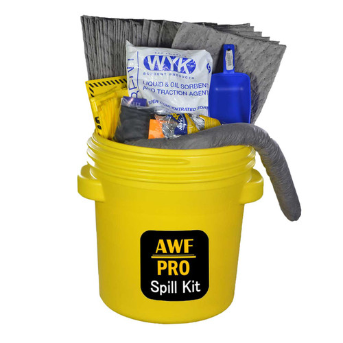 """20 Gallon Eco Friendly Sorbent Universal Spill Kit, Pro Grade, 44 Piece: Overpack Drum, Sorbent Bags, Heavy Duty Pads, 3""""x4' Socks, Bucket, Scoop, Gloves, Hazmat Bags, Goggles, Guidebook, Wall Sign"""