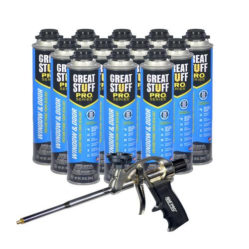 AWF PRO Window and Door Kit - Great Stuff Pro Window & Door Polyurethane Foam Sealant 20 oz cans (12) - AWF Pro Foam Gun (1) - Low Expansion, Insulating Foam