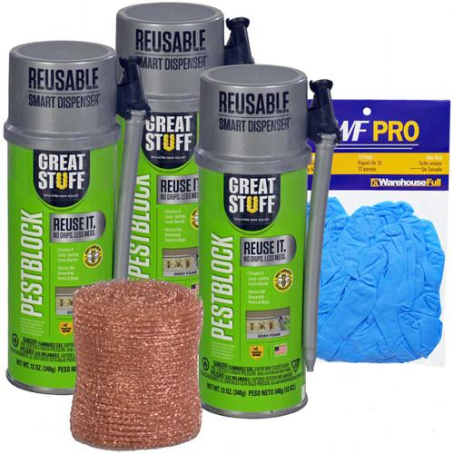 Great Stuff Smart Dispenser Kit, 3 Cans Pestblock, 1 Nitrile Gloves, 1 Copper Mesh