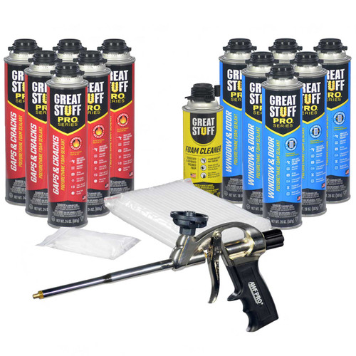 Our complete kit contains 6 cans Gaps & Cracks foam, 6 cans Window & Door foam, 1 can Gun Cleaner, and our AWF Pro Foam Gun with 100 extra tips and straws