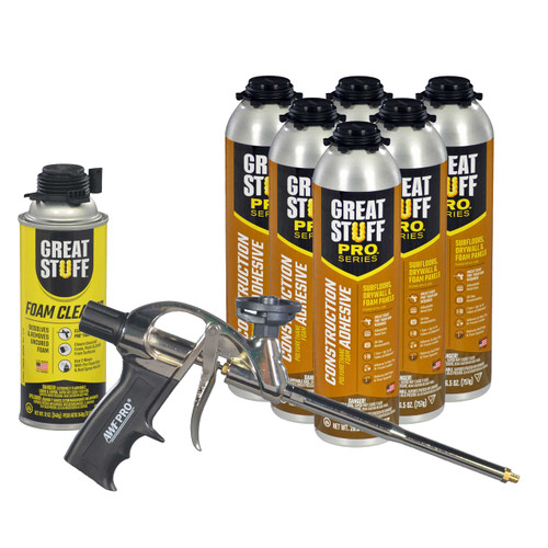 Contents: Pro Foam Gun, 6-26.5 oz Cans Wall & Floor Adhesive, 1 Can Cleaner