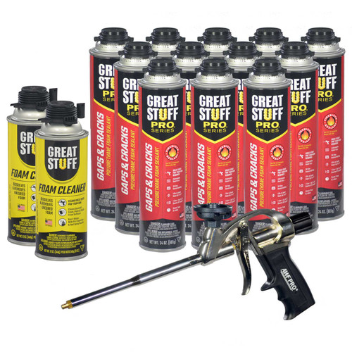 Contents: Pro Foam Gun, 12-24 oz Cans Gaps & Cracks, 2 Cans Cleaner