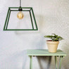 Vintage Green Table, Green Wood Lamp