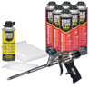 Contents: Pro Foam Gun, 6-24 oz Cans Gaps & Cracks, 1 Can Cleaner, 100 Tips, 100 Straws