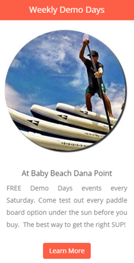 Come try out multiple stand up paddle boards before you buy!